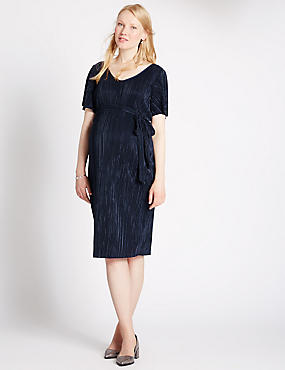 Maternity Short Sleeve Plisse Dress