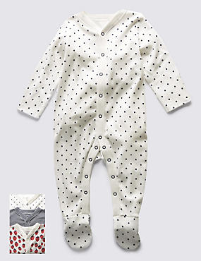 3 Pack Girls Skin Kind™ Nautical Themed Sleepsuits