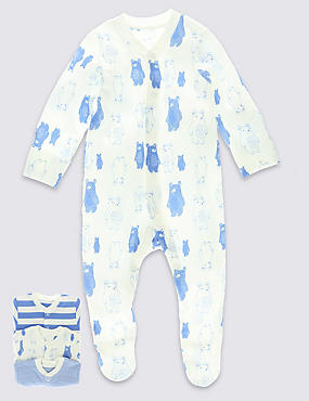 3 Pack Bear Themed Sleepsuits