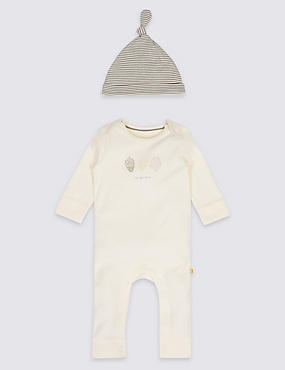 2 Piece Pure Cotton Organic All-in-One with Hat Outfit