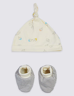 Pure Cotton Organic Baby Hat & Booties