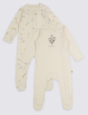 2 Pack Pure Cotton Baby Organic Sleepsuits