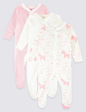 3 Pack Pure Cotton Animal Print Sleepsuits, MEDIUM PINK, catlanding