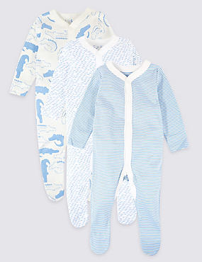 3 Pack Pure Cotton Animal Print Sleepsuits, BLUE, catlanding
