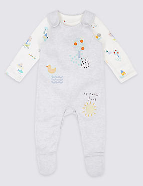 2 Piece Pure Cotton Bodysuit & Dungaree Outfit