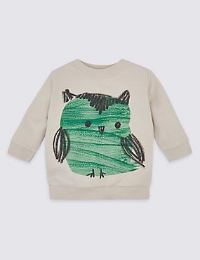 Pure Cotton Owl Sweatshirt, PARCHMENT, catlanding