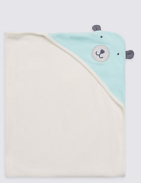 Pure Cotton Bear Hooded Towel, WINTER WHITE, catlanding