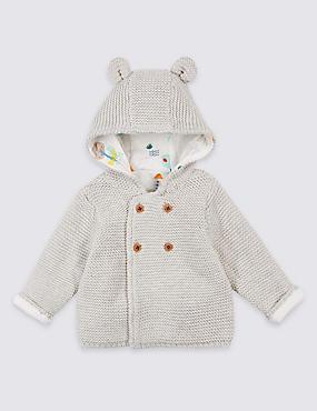 Pure Cotton Chunky Knit Hooded Cardigan, LIGHT GREY, catlanding
