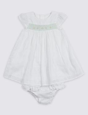 2 Piece Pure Cotton Frill Dress & Knicker, WHITE, catlanding
