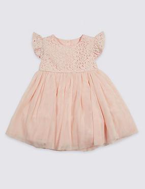 Frill Lace Baby Dress, SOFT PEACH, catlanding
