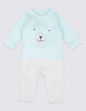 Pure Cotton Embroidered Bear All in One