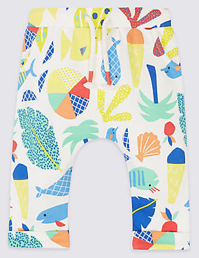 Pure Cotton All Over Print Joggers, MULTI/BRIGHTS, catlanding