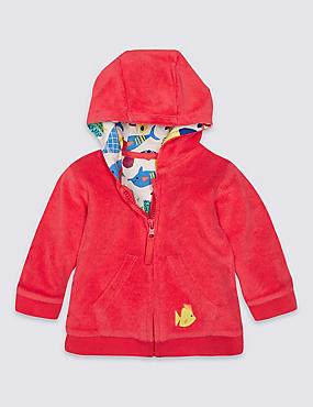 Cotton Rich Towelling Hooded Top, RED, catlanding