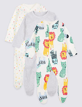 3 Pack Pure Cotton Sleepsuits, MULTI, catlanding
