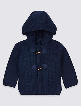 Cotton Rich Fleece Lined Chunky Cardigan, NAVY, catlanding