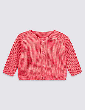 Pure Cotton Chunky Knit Cardigan, BRIGHT PINK, catlanding
