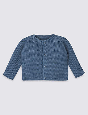 Pure Cotton Chunky Knit Cardigan, NAVY, catlanding