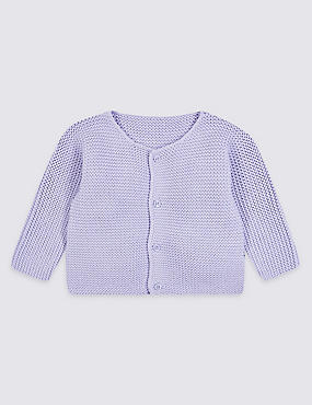Pure Cotton Chunky Knit Cardigan, LILAC, catlanding