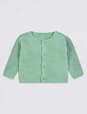 Pure Cotton Chunky Knit Cardigan, PALE GREEN, catlanding