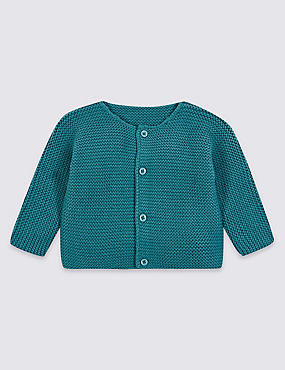 Pure Cotton Chunky Knit Cardigan, TEAL, catlanding