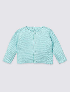 Pure Cotton Chunky Knit Cardigan, PALE BLUE, catlanding