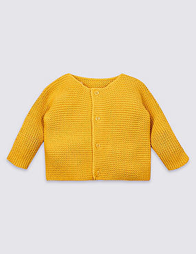 Pure Cotton Chunky Knit Cardigan, YELLOW, catlanding