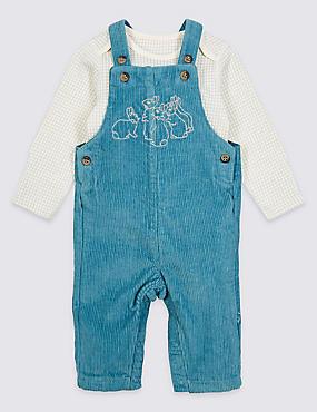 Peter Rabbit™ 2 Piece Dungarees & Bodysuit Outfit, LIGHT AIRFORCE, catlanding