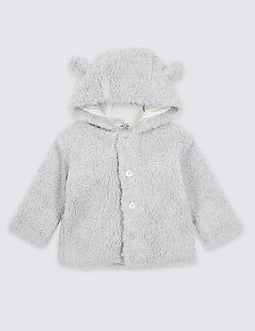 Cotton Rich Fleece Hooded Jacket, LIGHT BROWN, catlanding