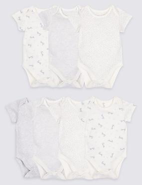 7 Pack Printed Pure Cotton Bodysuits, GREY, catlanding