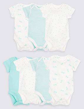 7 Pack Unisex Printed Pure Cotton Bodysuits