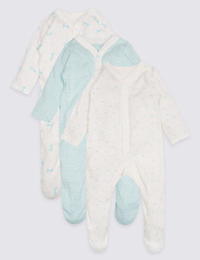 3 Pack Unisex Pure Cotton Sleepsuits