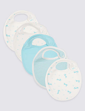 5 Pack Pure Cotton Round Bibs