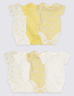 7 Pack Printed Unisex Pure Cotton Bodysuits