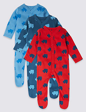 3 Pack Car Print Pure Cotton Sleepsuits