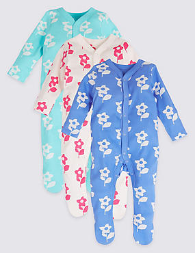 3 Pack Floral Print Pure Cotton Sleepsuits, MULTI, catlanding