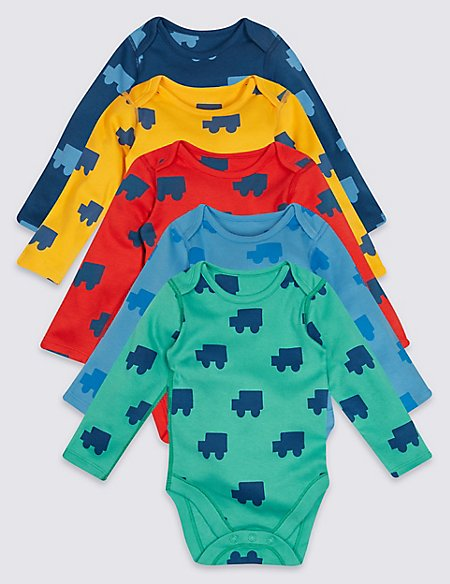 5 Pack Printed Pure Cotton Bodysuits