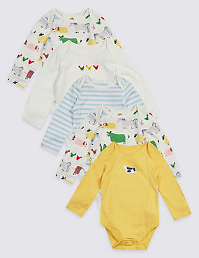 5 Pack Farmyard Unisex Pure Cotton Bodysuits