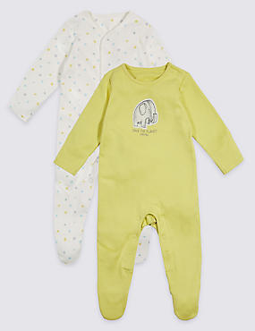 2 Pack Organic Unisex Pure Cotton Sleepsuits