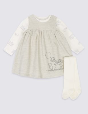 3 Piece Winnie The Pooh & Friends™ Dress & Bodysuit With Tights by Marks & Spencer