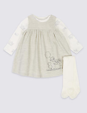 3 Piece Winnie the Pooh Dress & Bodysuit with Tights