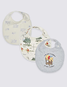 Winnie the Pooh & Friends™ 3 Pack Pure Cotton Bibs, VANILLA, catlanding