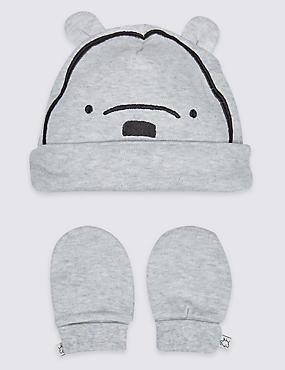 2 Piece Winnie the Pooh & Friends™ Hat & Mittens Set, WINTER WHITE, catlanding