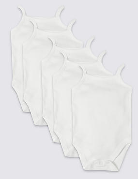 5 Pack Pure Cotton Strap Bodysuits