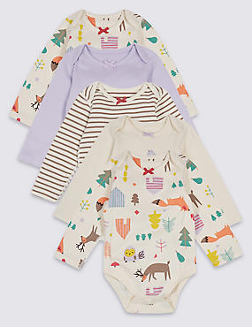 5 Pack Woodland Pure Cotton Bodysuits