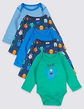 5 Pack Pure Cotton Monster Bodysuits