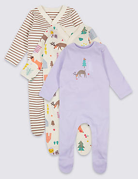 3 Pack Woodland Pure Cotton Sleepsuits