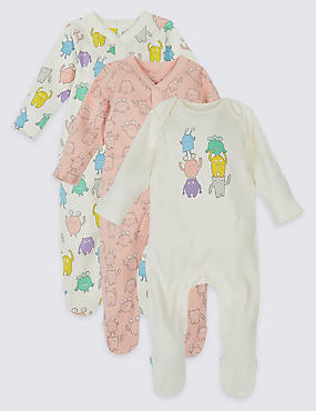 3 Pack Monster Print Pure Cotton Sleepsuits