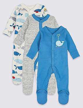 3 Pack Whale Print Pure Cotton Sleepsuits
