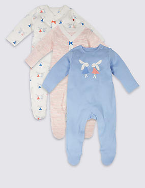 3 Pack Bunny Pure Cotton Sleepsuits, PALE CORAL, catlanding