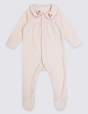Embroidered Velour Sleepsuit